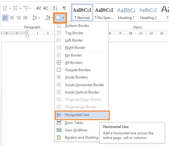 Drawing Lines In Word : How to draw horizontal vertical line in microsoft office